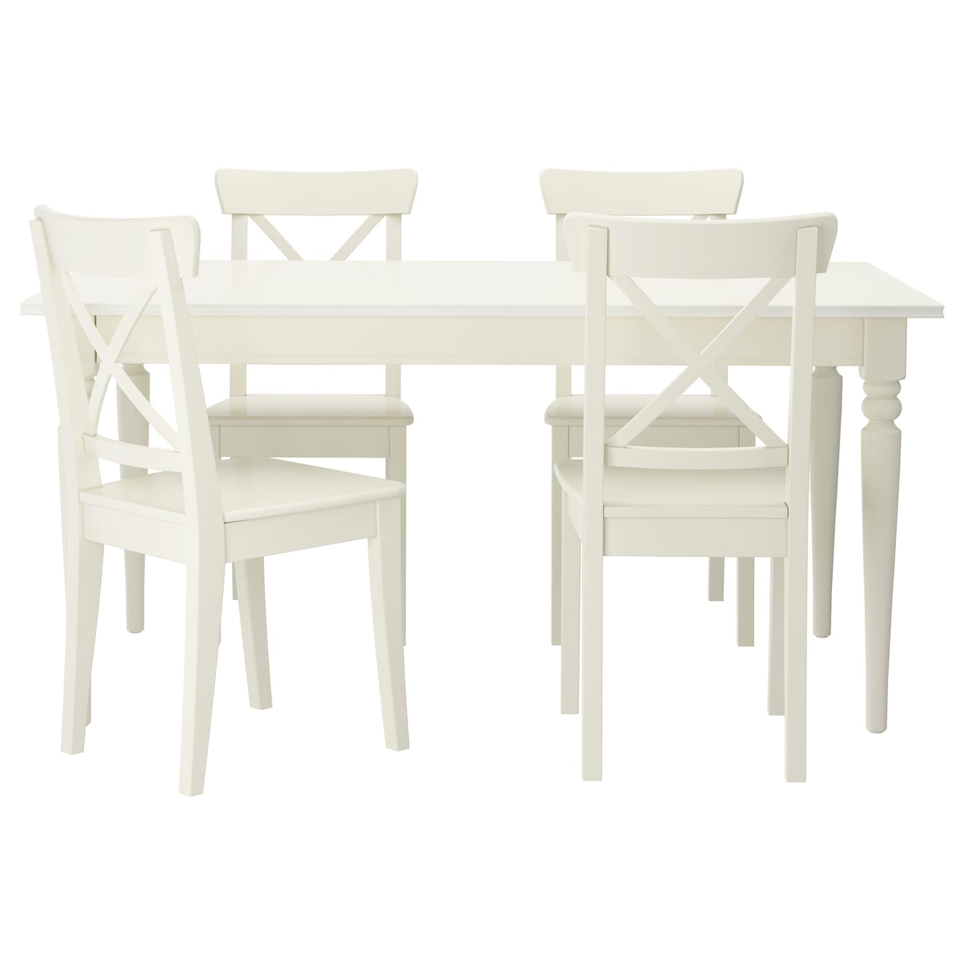IKEA INGATORP INGOLF Table And 4 Chairs The Clear Lacquered Surface Is Easy To
