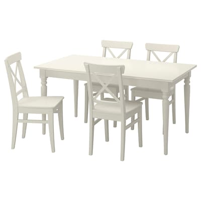 INGATORP / INGOLF Table and 4 chairs, white, 155/215 cm