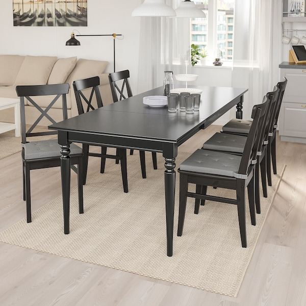 INGATORP / INGOLF Table and 6 chairs, black/brown-black, 155/215 cm