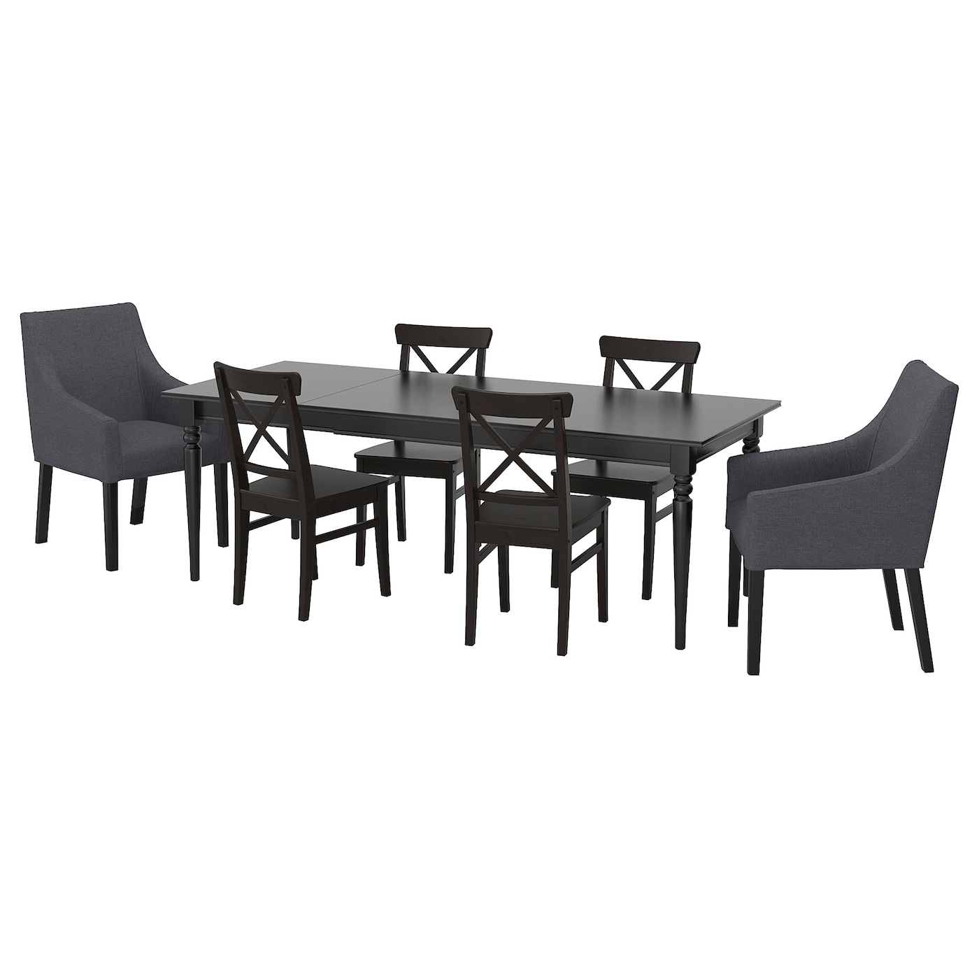 IKEA INGATORP/INGOLF table and 6 chairs 1 extension leaf included.