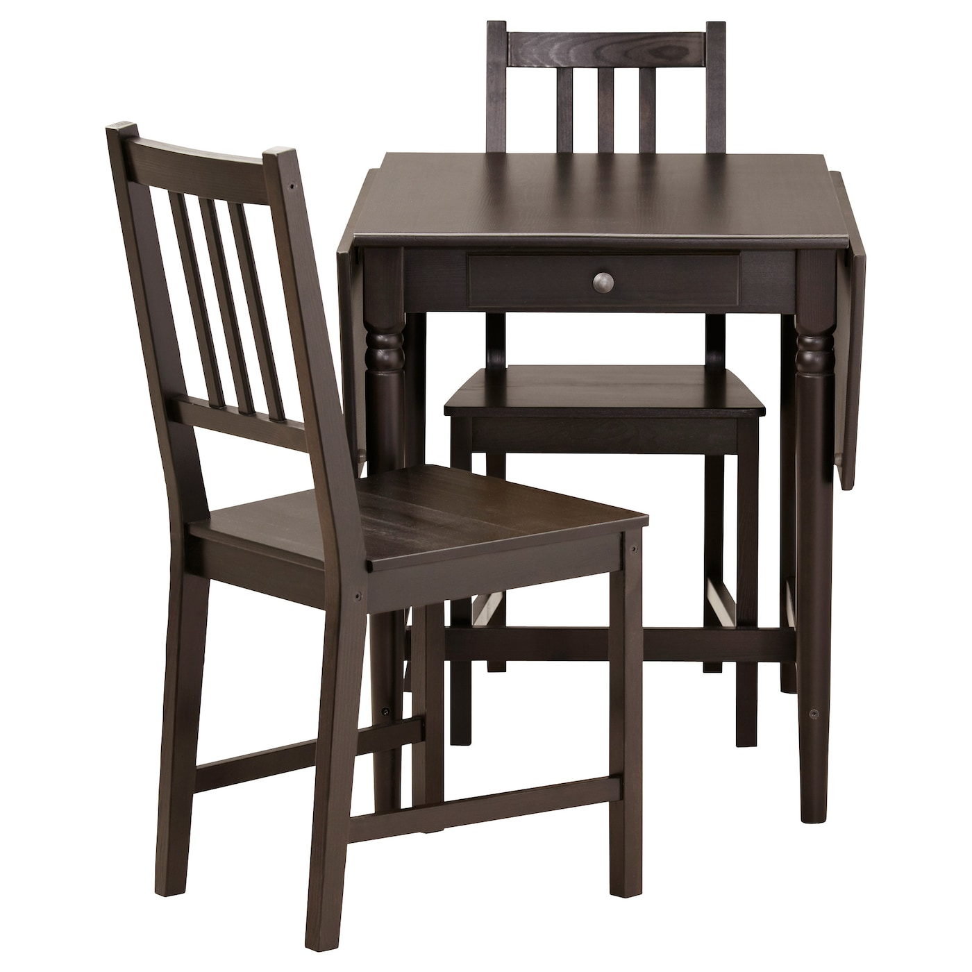 Ingatorp stefan table and 2 chairs black brown 59 cm ikea for Small dining set for 2