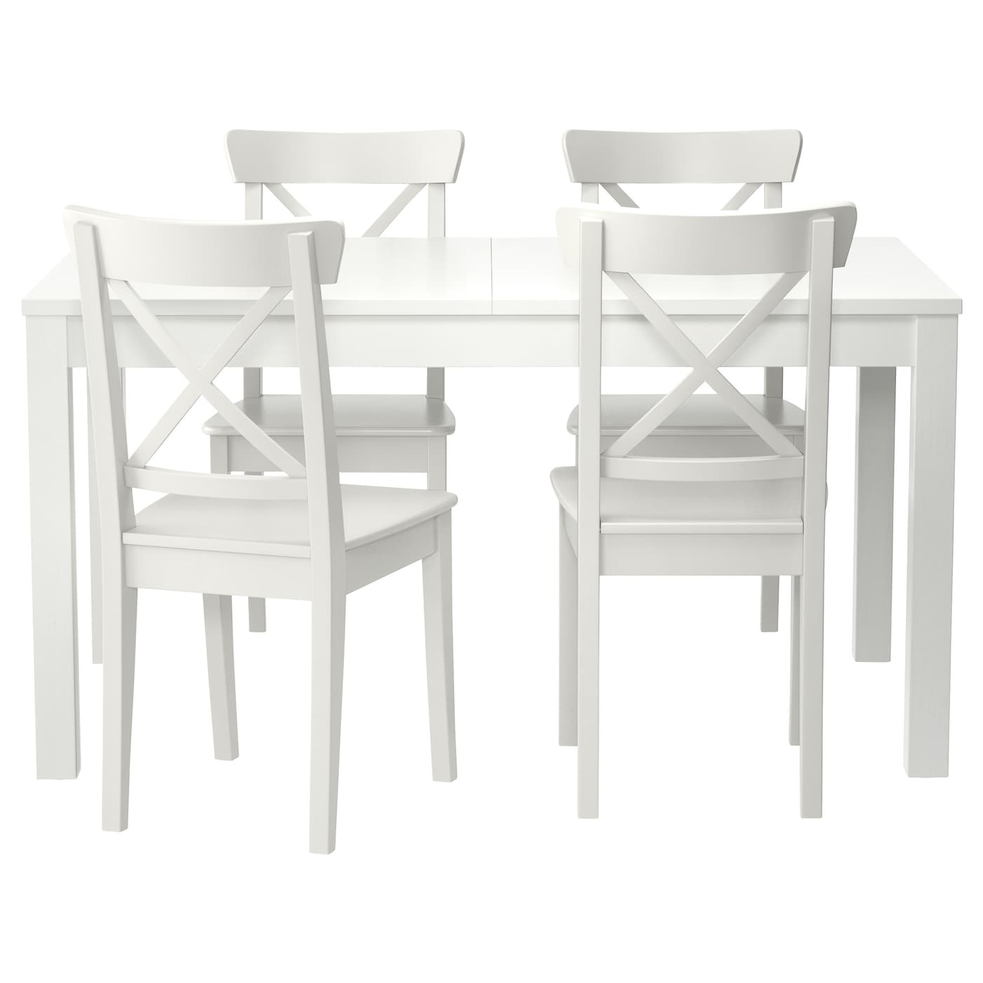 IKEA INGOLF/BJURSTA table and 4 chairs The clear-lacquered surface is easy to wipe clean.