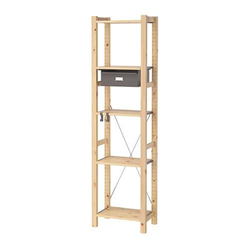 ivar 1 section shelves drawers pine grey 48x30x179 cm ikea. Black Bedroom Furniture Sets. Home Design Ideas