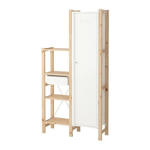 Ivar 2 sections shelves cabinet pine white 92 x 30 x 179 for Ikea ivar mobile