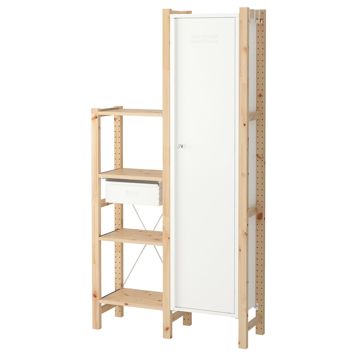ivar 2 sections shelves cabinet pine white 92 x 30 x 179 cm ikea. Black Bedroom Furniture Sets. Home Design Ideas