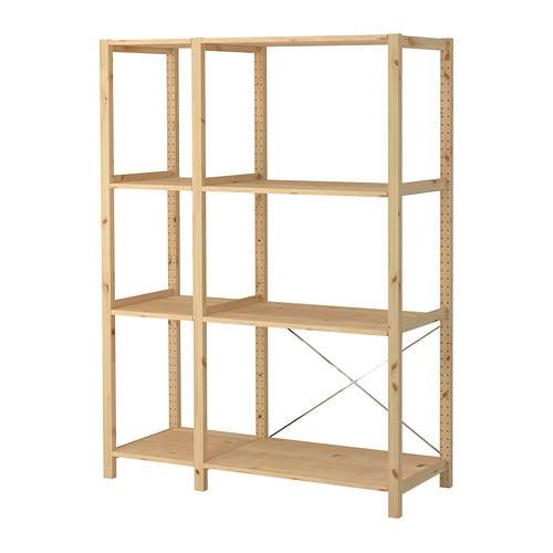 ivar 2 sections shelves pine 134x50x179 cm ikea