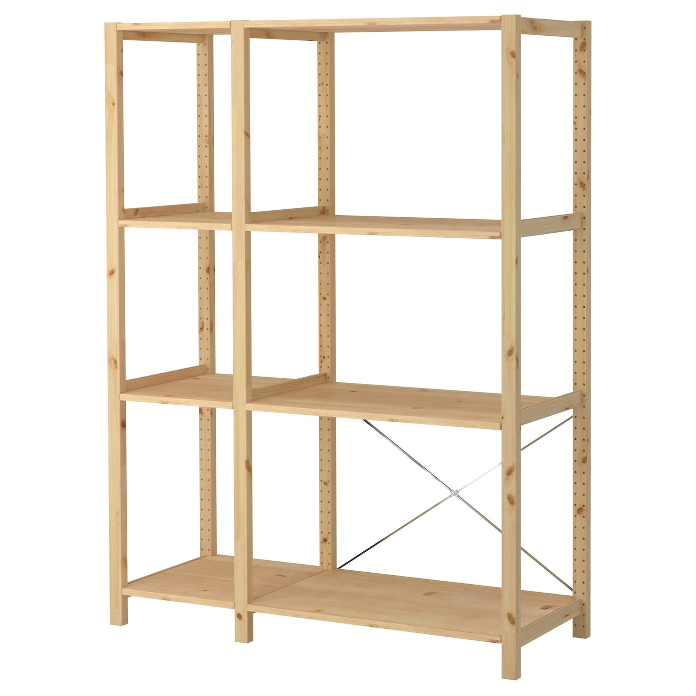 Ivar 2 sections shelves pine 134x50x179 cm ikea for Ladenblok ivar ikea
