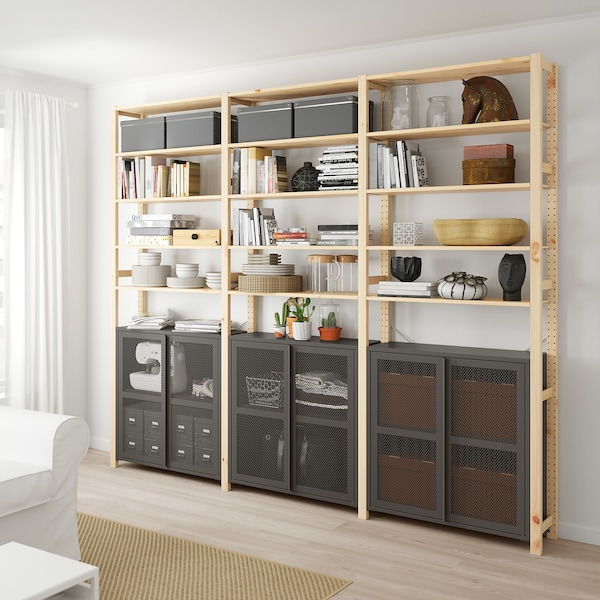 IVAR 3 sections/cabinet/shelves, pine/grey mesh, 259x30x226 cm