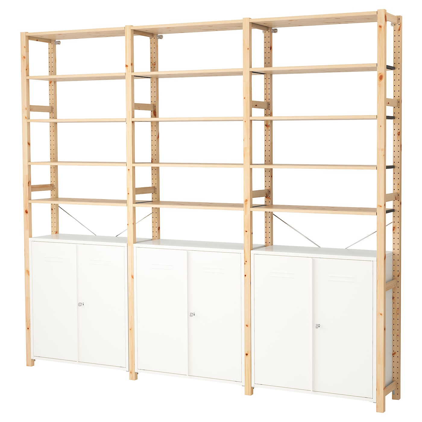 ivar 3 sections cabinet shelves pine white 259 x 30 x 226 cm ikea. Black Bedroom Furniture Sets. Home Design Ideas