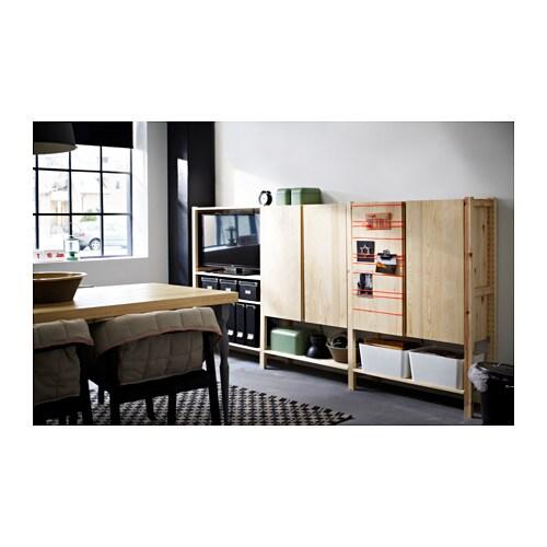 ivar 3 sections shelves cabinet pine 259x30x124 cm ikea