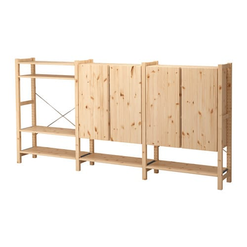 Ivar 3 sections shelves cabinet pine 259x30x124 cm ikea for Ladenblok ivar ikea