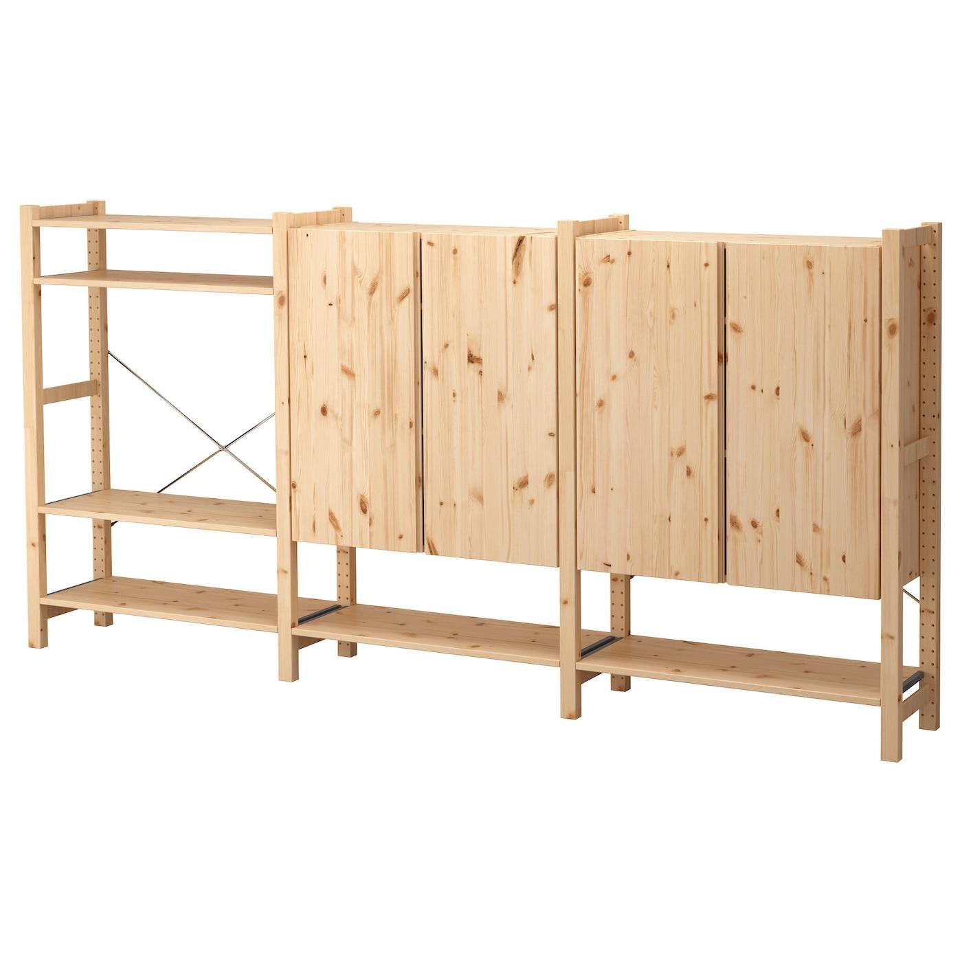 ivar 3 sections shelves cabinet pine 259x30x124 cm ikea. Black Bedroom Furniture Sets. Home Design Ideas