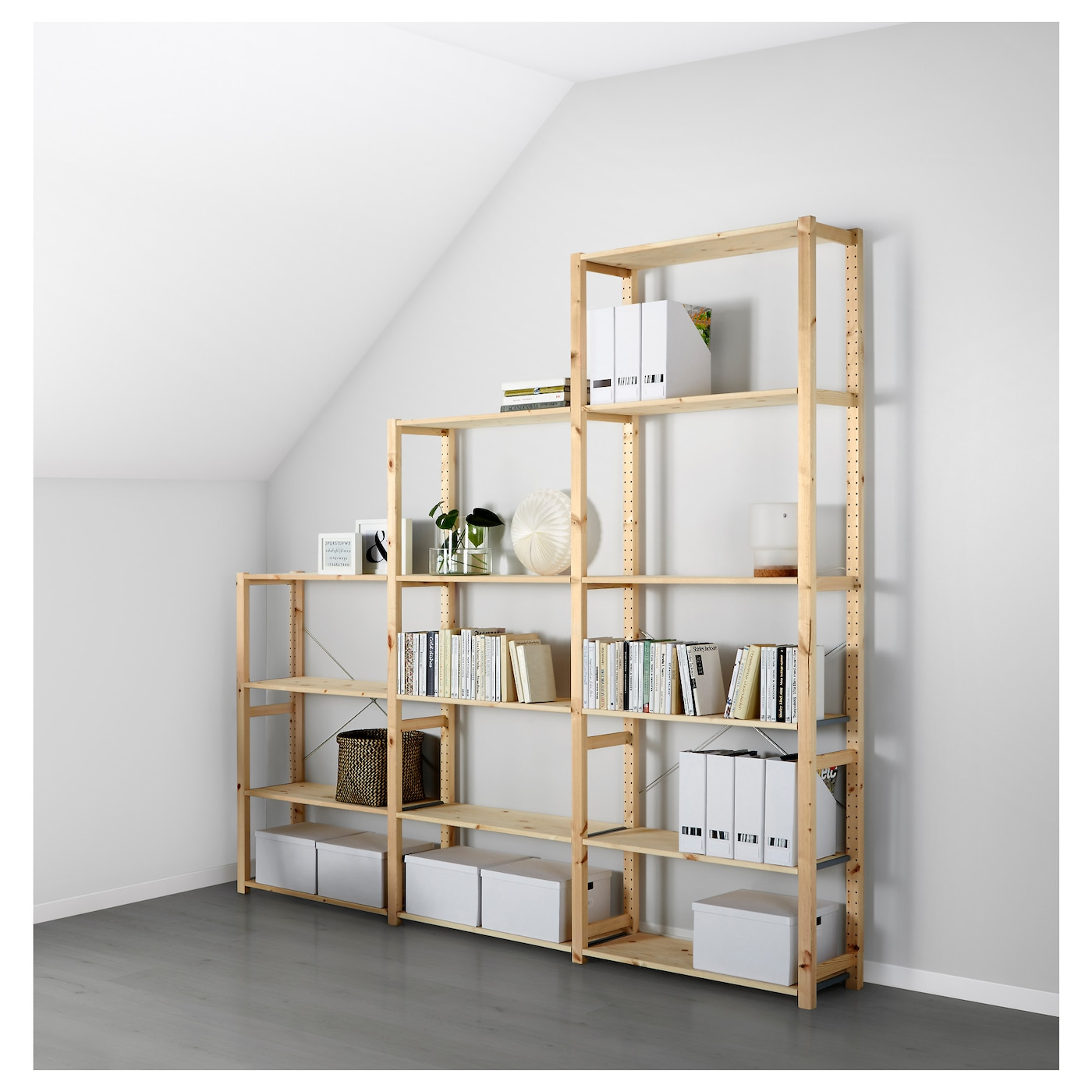 ivar 3 sections shelves pine 259 x 30 x 226 cm ikea. Black Bedroom Furniture Sets. Home Design Ideas
