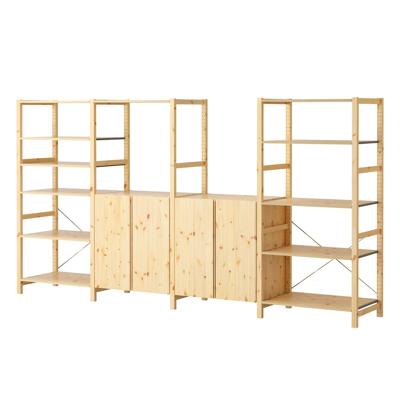 Ivar 4 sections shelves pine 344x50x179 cm ikea for Ladenblok ivar ikea