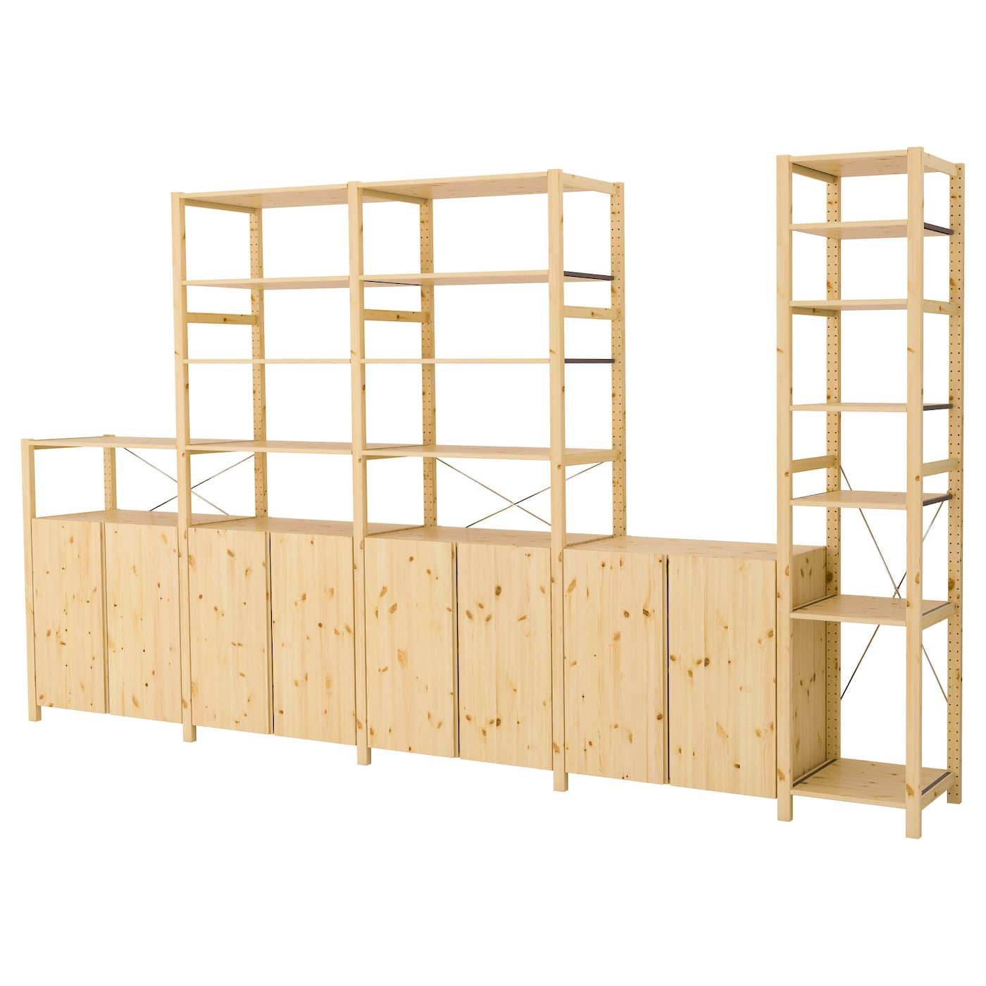 Ivar 5 sections shelves cabinets pine 389x50x226 cm ikea for Ladenblok ivar ikea