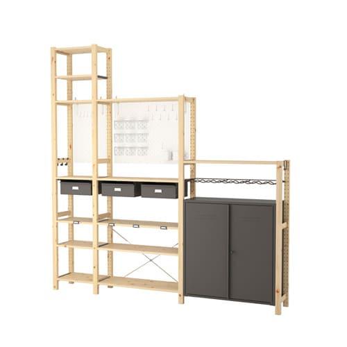 IVAR/SKÅDIS 3 sections/cabinet/shelves 219x30x226 cm
