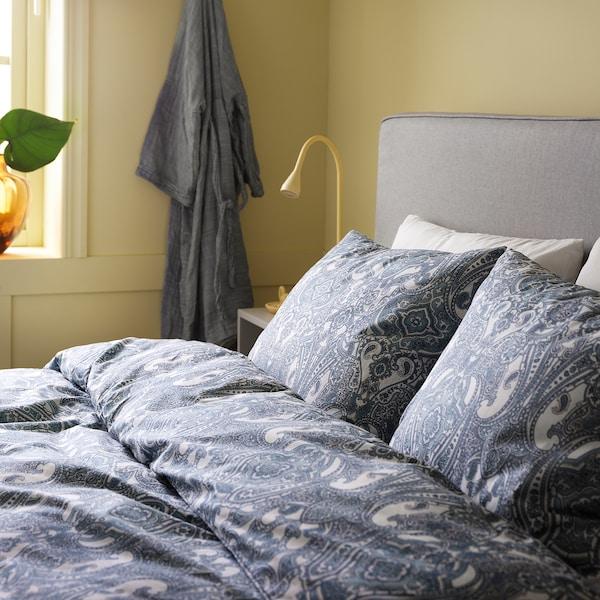 JÄTTEVALLMO Quilt cover and 2 pillowcases, white/blue, 240x220/50x80 cm