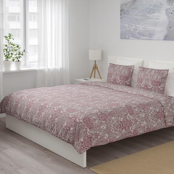 JÄTTEVALLMO Quilt cover and 2 pillowcases, white/dark pink, 240x220/50x80 cm