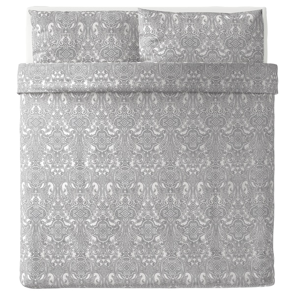 JÄTTEVALLMO Quilt cover and 2 pillowcases, white/grey, 240x220/50x80 cm