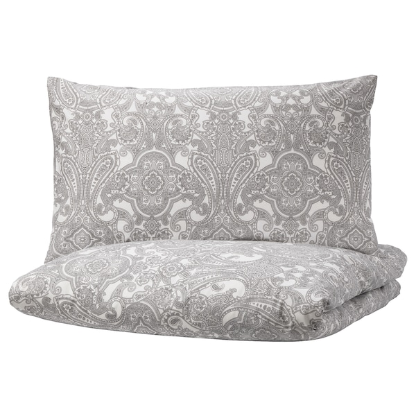JÄTTEVALLMO Quilt cover and 2 pillowcases, white/grey, 200x200/50x80 cm