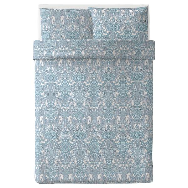 JÄTTEVALLMO quilt cover and 2 pillowcases white/blue 2 pack 200 cm 200 cm 50 cm 80 cm