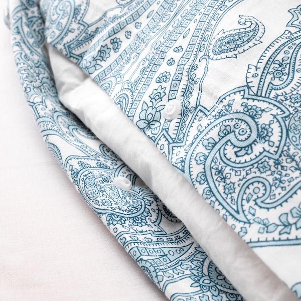 JÄTTEVALLMO Quilt cover and pillowcase, white/blue, 150x200/50x80 cm