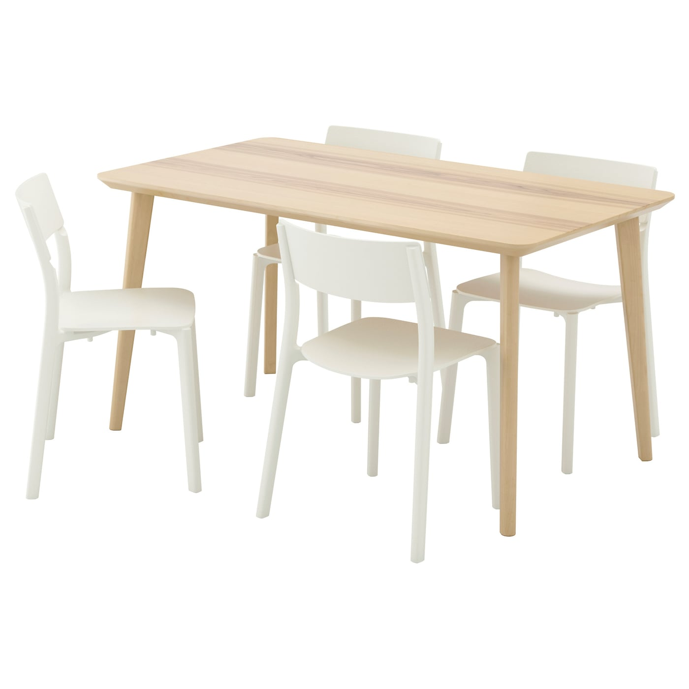Janinge lisabo table and 4 chairs ash veneer white 140x78 for Table ikea 4 99