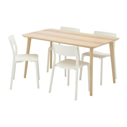 Janinge Lisabo Table And 4 Chairs Ash Veneer White 140x78