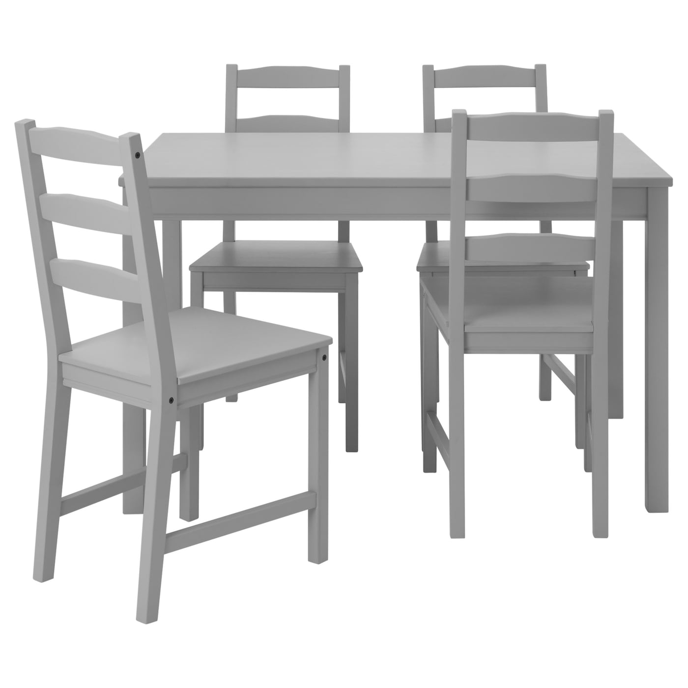 Jokkmokk table and 4 chairs grey ikea for Table chaise ikea