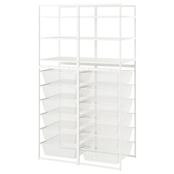 JONAXEL Frame/mesh baskets/shelving units, white, 99x51x173 cm
