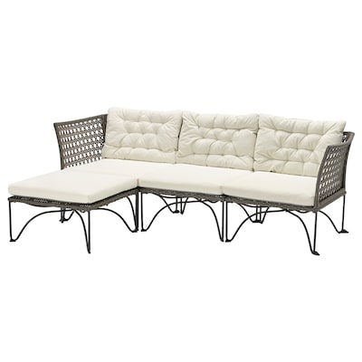 JUTHOLMEN 3-seat modular sofa, outdoor, dark grey/Kuddarna beige, 210x73/138 cm