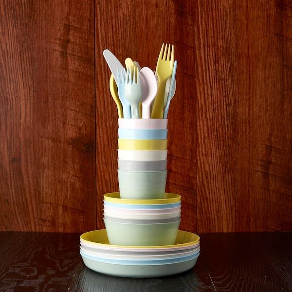KALAS 18-piece cutlery set, mixed colours