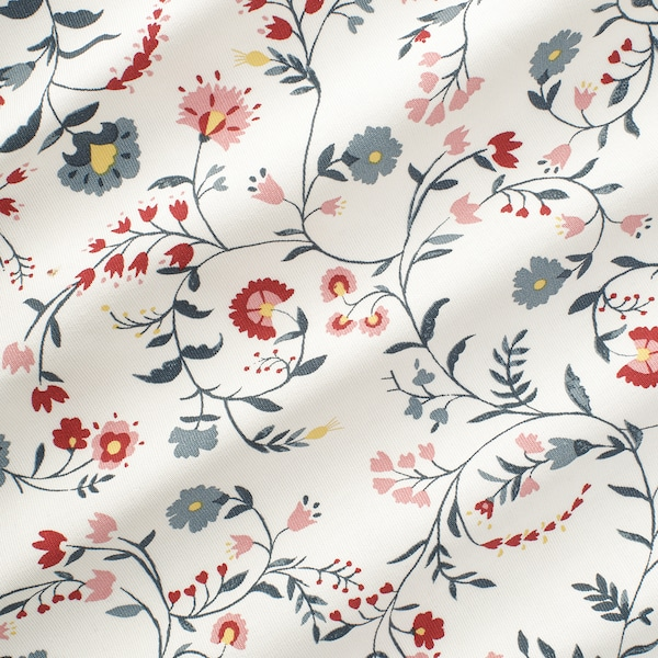 KALKBRÄKEN Fabric, white/floral patterned, 150 cm