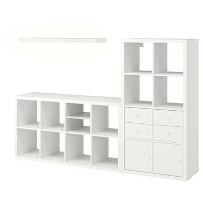 KALLAX / LACK Storage combination with shelf, white, 224x39x147 cm