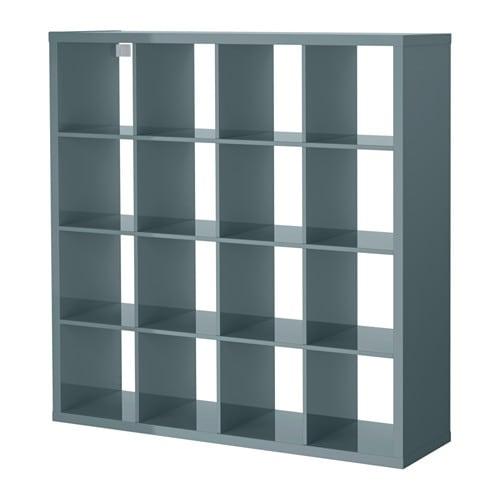 Kallax Shelving Unit High Gloss Grey Turquoise 147x147 Cm Ikea