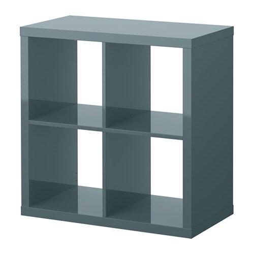Kallax Shelving Unit High Gloss Grey Turquoise 77x77 Cm Ikea