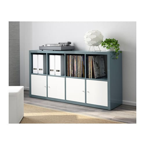 kallax shelving unit high gloss grey turquoise 77x147 cm ikea. Black Bedroom Furniture Sets. Home Design Ideas