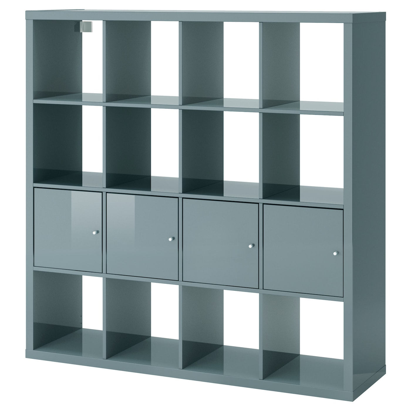 kallax shelving unit with 4 inserts high gloss grey turquoise 147x147 cm ikea. Black Bedroom Furniture Sets. Home Design Ideas