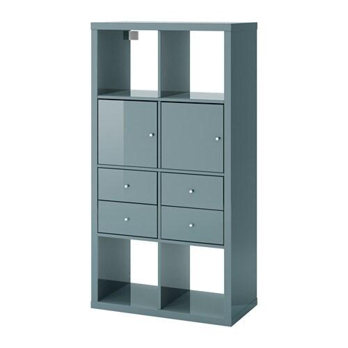 Kallax shelving unit with 4 inserts high gloss grey for Bureau kallax ikea