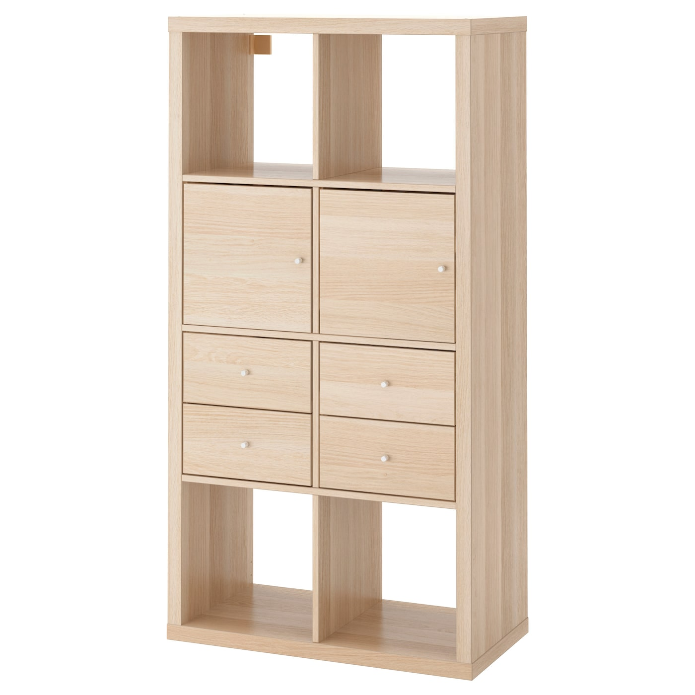 Kallax shelving unit with 4 inserts white stained oak effect 77 x 147 cm ikea - Mobile kallax ikea ...