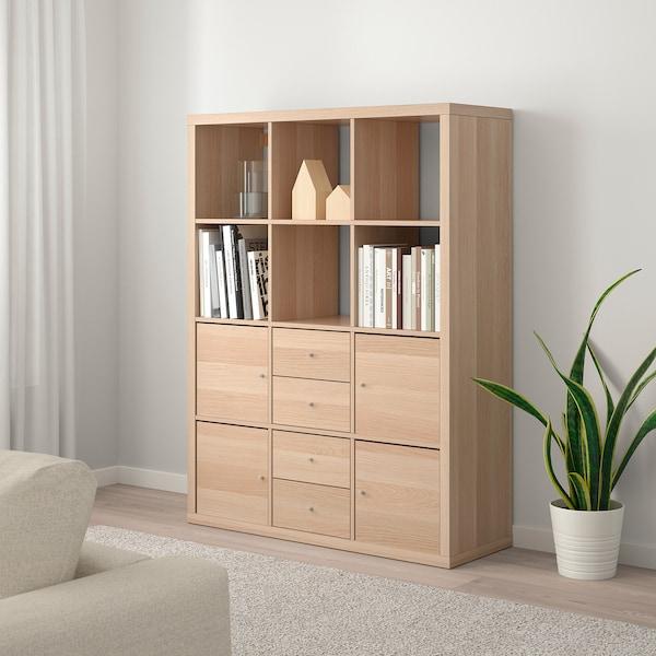 KALLAX shelving unit with 6 inserts white stained oak effect 112 cm 39 cm 147 cm 13 kg