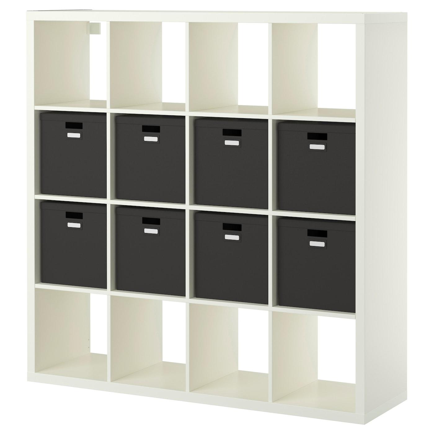 kallax shelving unit with 8 inserts white 147x147 cm ikea. Black Bedroom Furniture Sets. Home Design Ideas