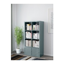 Kallax shelving unit with doors high gloss grey turquoise for Couloir turquoise