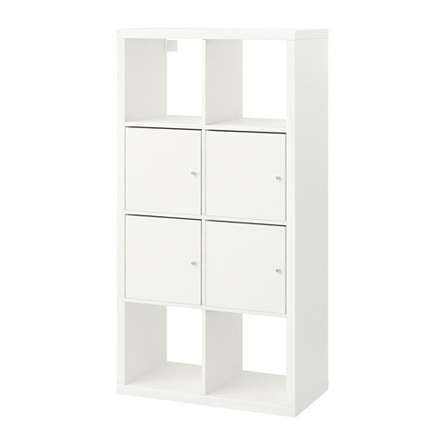 Kallax Shelving Unit With Doors White 77 X 147 Cm Ikea