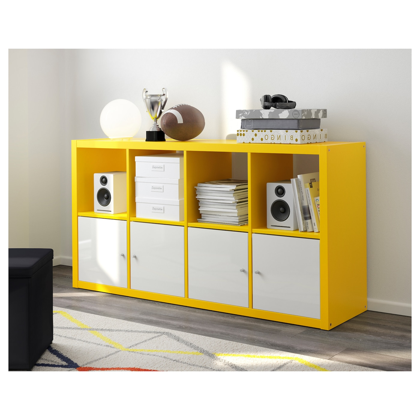 kallax shelving unit yellow 77x147 cm ikea. Black Bedroom Furniture Sets. Home Design Ideas