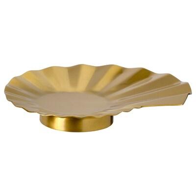 KARISMATISK Candle dish, gold-colour, 18 cm