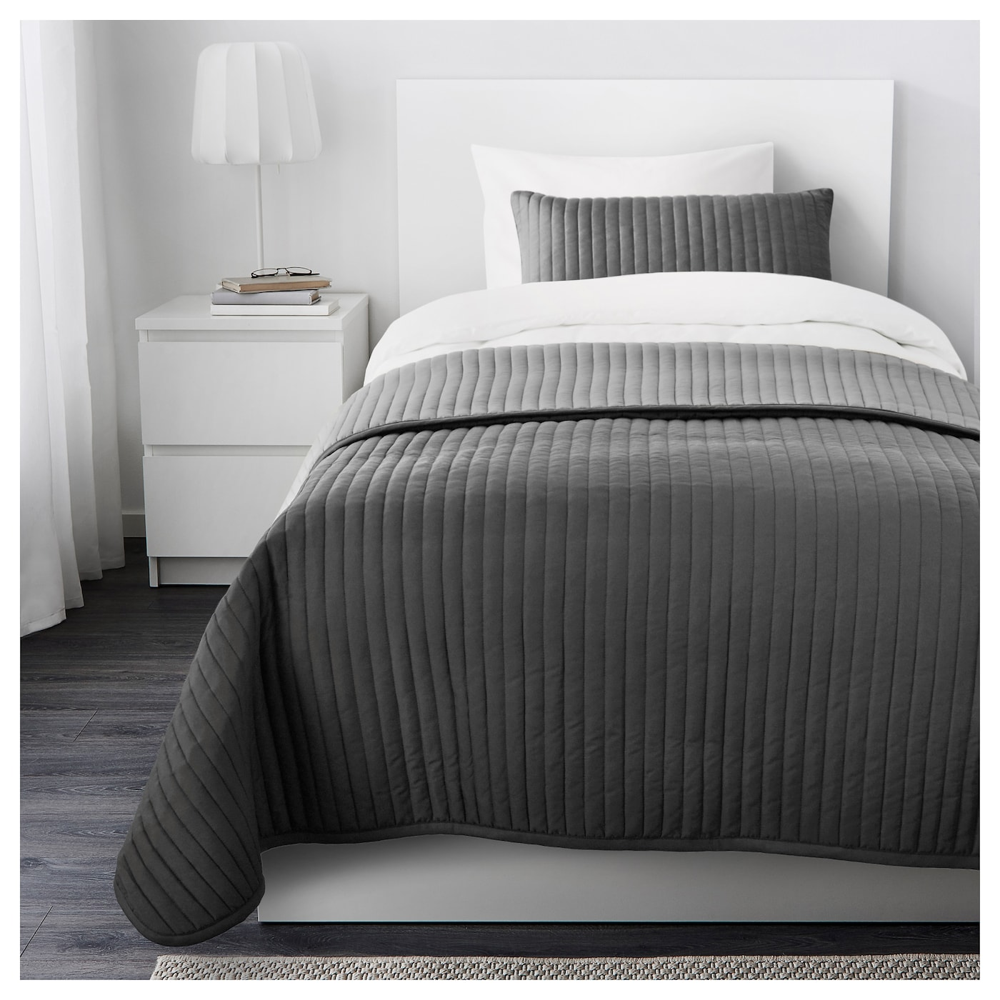 IKEA KARIT bedspread and cushion cover Extra soft since the bedspread and cushion cover are quilted.