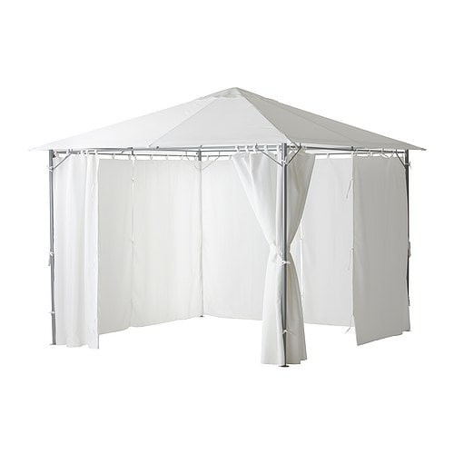 IKEA KARLSÖ gazebo with curtains The air vent reduces wind pressure and allows heat to circulate.