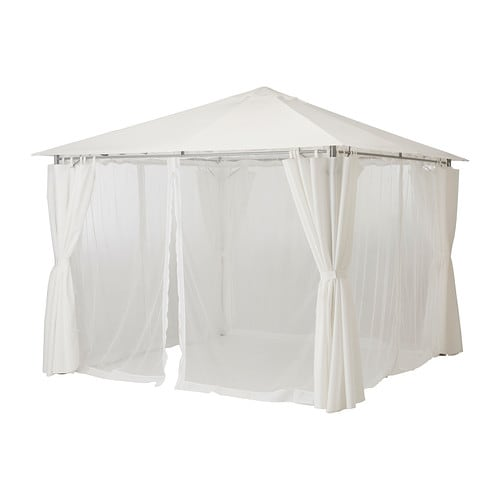 KARLS Gazebo With Curtains White 300x300 Cm IKEA
