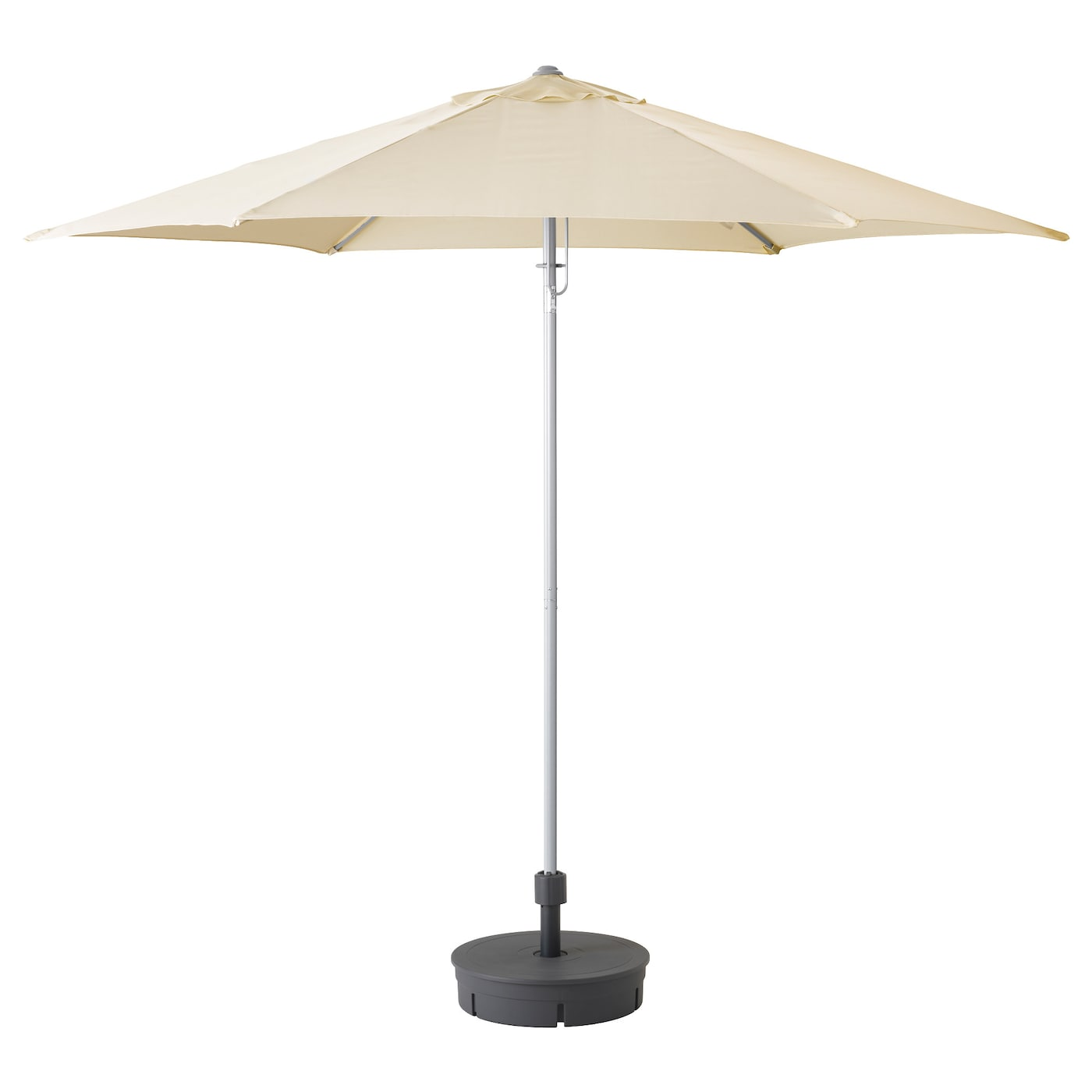 IKEA KARLSÖ parasol with base The air vent reduces wind pressure and allows heat to circulate.